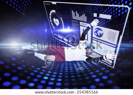 Goalkeeper in white making a save against futuristic dotted blue and black background - stock photo
