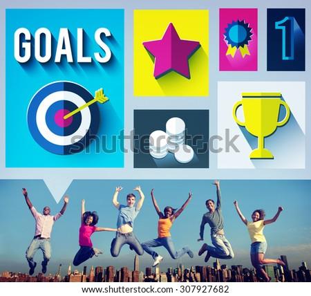 Goals Achievement Successful Winner Target Concept - stock photo