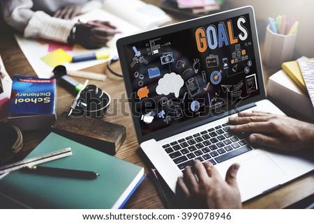 Goals Aim Aspiration Believe Dreams Expectations Concept - stock photo