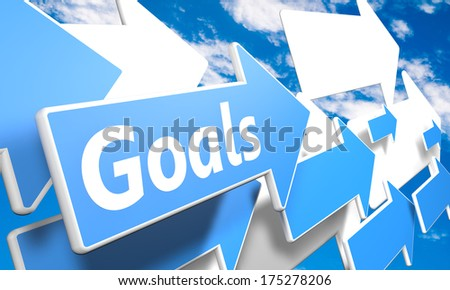Goals 3d render concept with blue and white arrows flying in a blue sky with clouds - stock photo