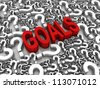 Goals 3D text surrounded by question marks. Part of a series. - stock photo