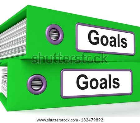 Goals Folders Showing Direction Aspirations And Targets - stock photo