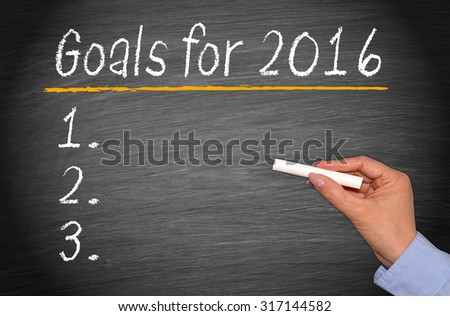 Goals for 2016 - checklist on chalkboard with female hand and chalk - stock photo