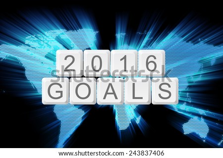 Goals for 2016 from keyboard button with shiny zoom world map. - stock photo