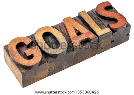 goals word abstract - an isolated banner in vintage letterpress wood type blocks stained by color inks - stock photo