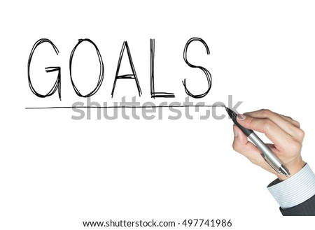 goals written by hand, hand writing on transparent board, photo