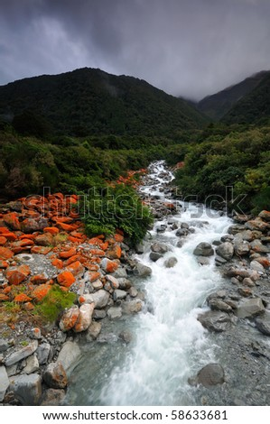 Goat Creek in the storm, Arthur's Pass National Park, New Zealand - stock photo