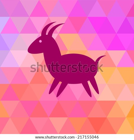 Goat Icon on Bright Geometric Background. 2015 - Chinese New Year of the Goat. Raster illustration.  - stock photo