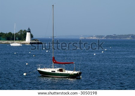 Goat Island Lighthouse Newport Rhode Island - stock photo