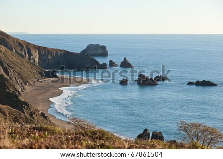 Goat Rock Beach is a sand beach in northwestern Sonoma County, California, United States. This landform is a sub-unit of Sonoma Coast State Beach, owned and managed by the State of California. - stock photo