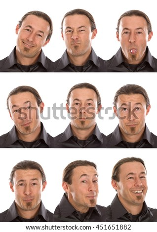 goatee short hair adult caucasian man collection set of face expression like happy, sad, angry, surprise, yawn isolated on white  - stock photo