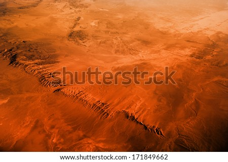 Gobi desert view from the airplane. - stock photo