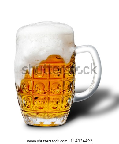 goblet of light beer foam. lager beer in a glass beaker with fresh bubbling foam. alcoholic fresh beverage  yellow color. pub drink. Isolated over white background. - stock photo