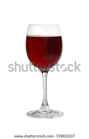 Goblet of red wine isolated on white background with clipping path - stock photo