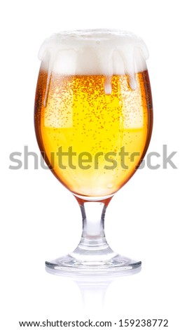 goblet with fresh beer isolated on white background