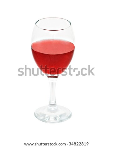 Goblet with red wine isolated on white background