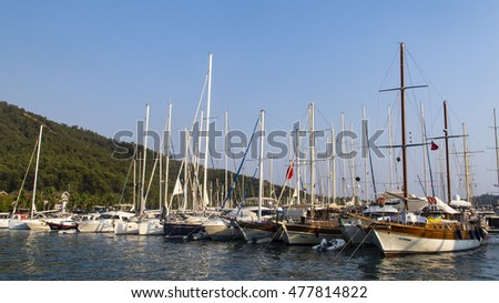 GOCEK BAY, TURKEY - AUG 2016: Yachts and boats parking on August 30, 2016 in Gocek Bay, Turkey