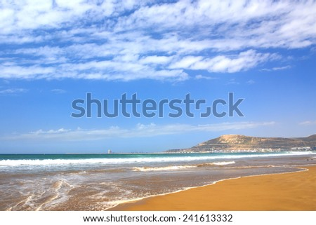 God, Fatherland, King caption on the Mountain in Agadir, Morocco. - stock photo