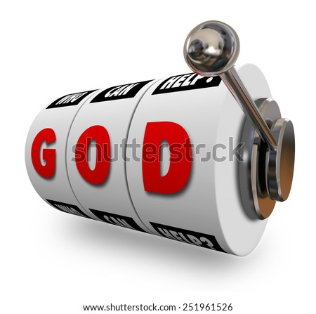 God letters on slot machine dials or wheels to illustrate  religion, spirituality and praying for a win, jackpot or success in life - stock photo