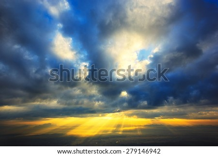 God light beam, abstract sky - stock photo