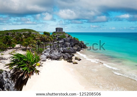 God of Winds Temple guarding Tulum's sea entrance bay in Quintana Roo, Mexico - stock photo