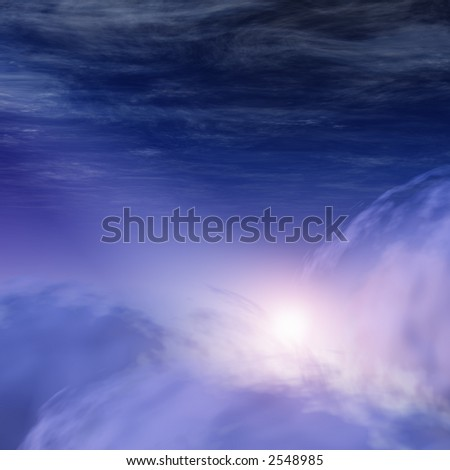 God-rays in Heavenly Clouds - stock photo