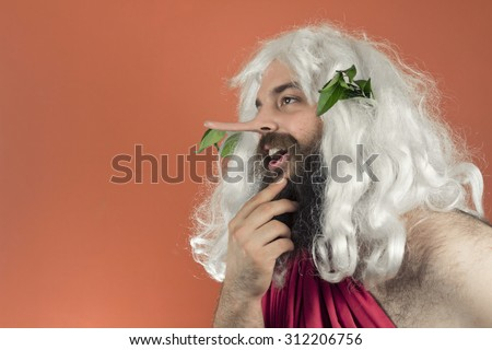 God stroking beard and telling many lies as his nose grows - stock photo