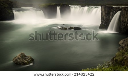 Godafoss, a waterfall in north Iceland - stock photo