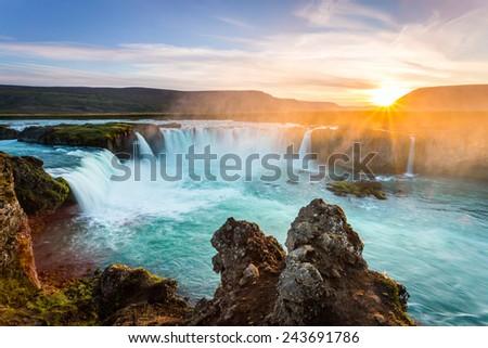 Godafoss, amazing waterfall in Iceland at sunset. outdoor scenics - stock photo