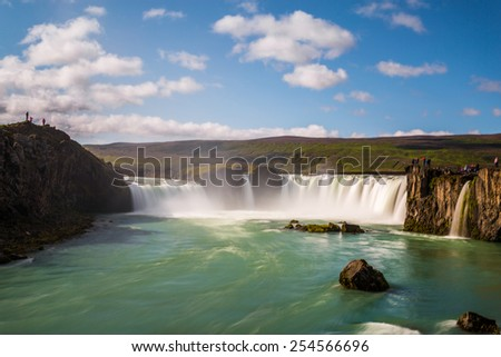 Godafoss Waterfall, Iceland. Clear Blue Sky - stock photo