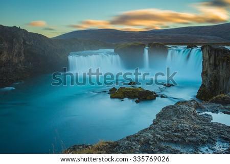 Godafoss waterfall, long exposure image - stock photo