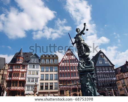 Goddess of Justice at historical R�¶mer at Frankfurt - stock photo