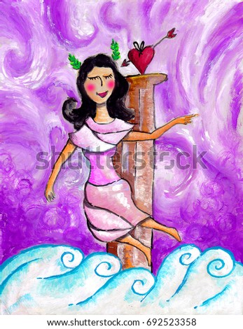 Goddess Love Beauty On Cloud Other Stock Illustration 692523358