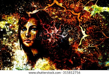 Goddess Woman and oriental ornamental mandala and color abstract background with spots