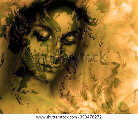 Goddess woman, with ornamental face, and color abstract background. meditative closed eyes