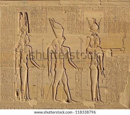 Gods of Egypt, Philae Temple in Egypt. UNESCO World Heritage Site - stock photo