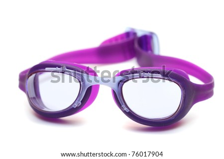 goggles glasses for swim on white background - stock photo