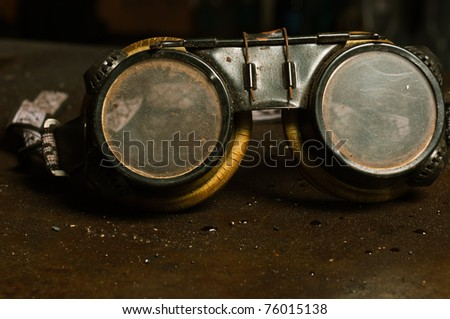 Goggles of a factory worker - stock photo