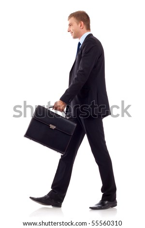 going business man holding brief case over wite - stock photo