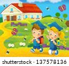 Going to school - illustration for the children - stock photo