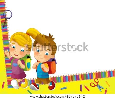 Going to school - illustration for the children - stock photo
