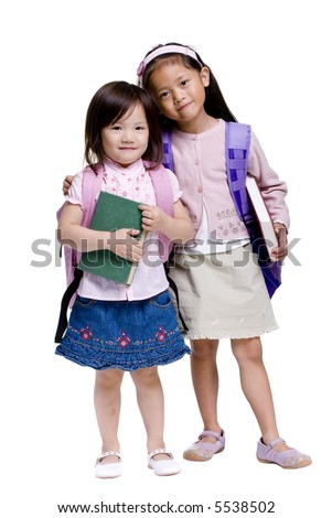 Going to school is your future. Education, learning, teaching. Two young girls ready for school - stock photo