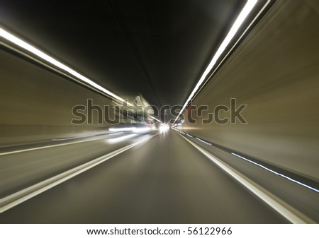 Going trough the underground tunnel (Gotthard) - stock photo