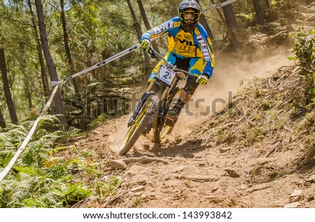 GOIS, PORTUGAL - JUNE 23: Francisco Pardal during the 4th Stage of the Taca de Portugal Downhill Vodafone on june 23, 2013 in Gois, Portugal.
