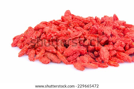 Goji berries on white background.