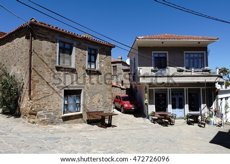 Gokceada,Canakkale,Turkey-September 15,2016: Zeytinlikoy village in Gokceada island. Gokceada which is the largest island of Turkey is a rural district of Canakkale Province of Turkey