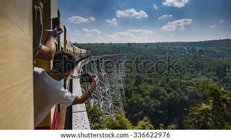 Gokteik, Myanmar - January 5, 2014: Gokteik Viaduct, at 318ft high and 2257ft across, the second-highest railway bridge in the world, Myanmar - stock photo