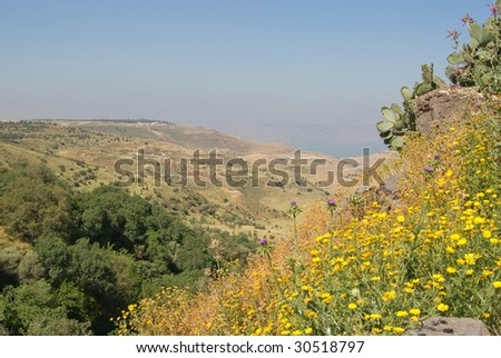 Golan heights and view over the Sea of Galilee