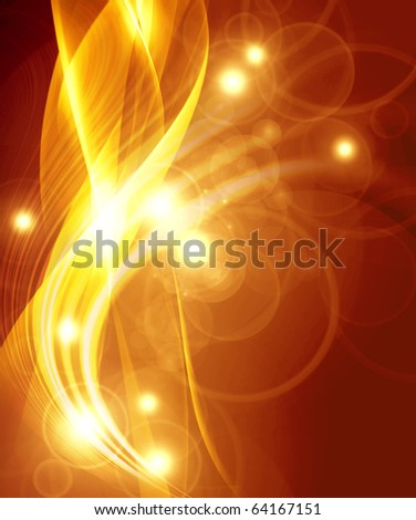gold abstract composition of delicate lines - stock photo