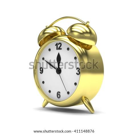 Gold alarm clock on white. 3d rendering. - stock photo